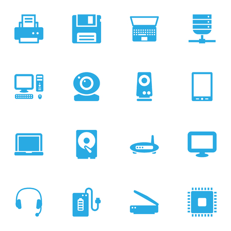 Set Of 16 Computer Icons Set.Collection Of Photocopy, Record, Datacenter And Other Elements.
