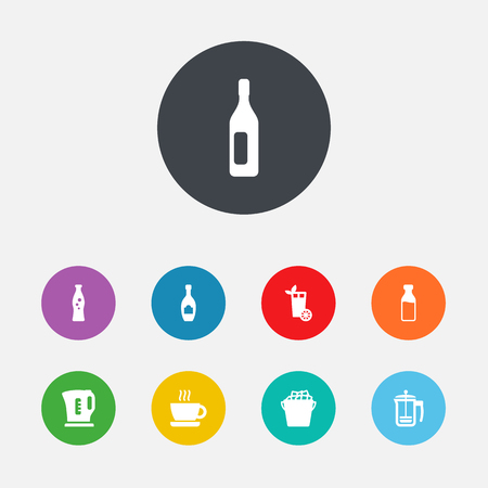 Set Of 9 Drinks Icons Set.Collection Of Wine, Pot, Fizzy Water And Other Elements.