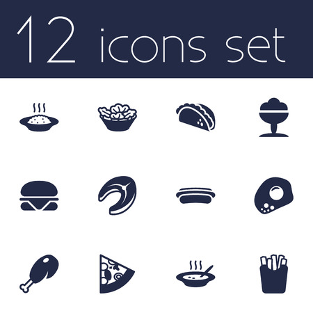 plant stand: Set Of 12 Food Icons Set.Collection Of Fried Poultry, Seafood, Lettuce And Other Elements.