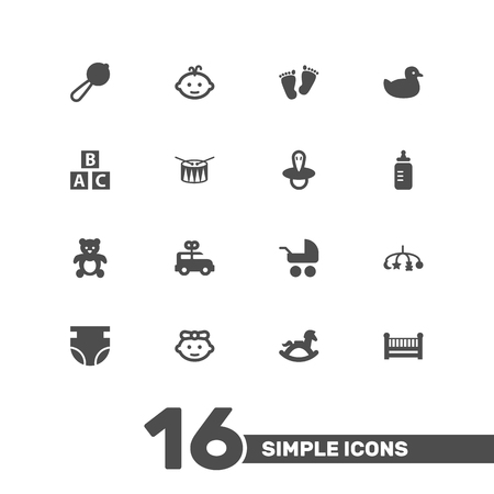 deluxe: Set Of 16 Child Icons Set.Collection Of Abc Block, Duck, Trace And Other Elements.