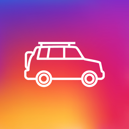 Isolated Hatchback Outline Symbol On Clean Background. Vector Suv Element In Trendy Style.