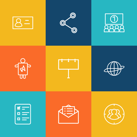 large group of business people: Set Of 9 Commercial Outline Icons Set.Collection Of Worker, Brand Awareness, Audience Elements. Illustration