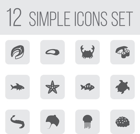Set Of 12 Seafood Icons Set.Collection Of Acne, Asteroid, Shark And Other Elements.
