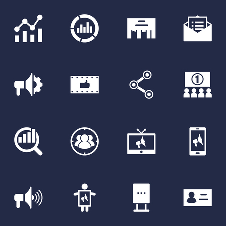 Set Of 16 Trade Icons Set.Collection Of Inbox, Like, Message And Other Elements. Illustration