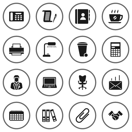 addition: Set Of 16 Bureau Icons Set.Collection Of Office Chair, Table Lighter, Coffee And Other Elements.