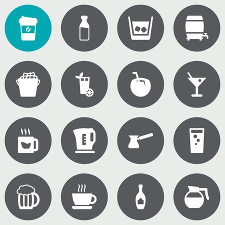 ale: Set Of 16 Beverages Icons Set.Collection Of Green Tea, Mug, Milk Glass And Other Elements. Illustration