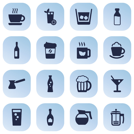 Set Of 16 Beverages Icons Set.Collection Of Turkish Coffee, Soda, Cream And Other Elements.