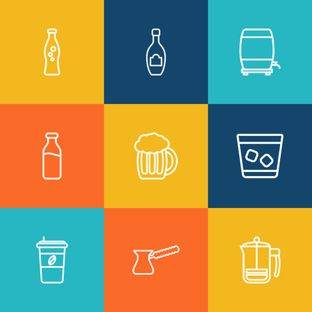 ferment: Set Of 9 Beverages Outline Icons Set.Collection Of Wine Cask, Champagne, Dairy And Other Elements.