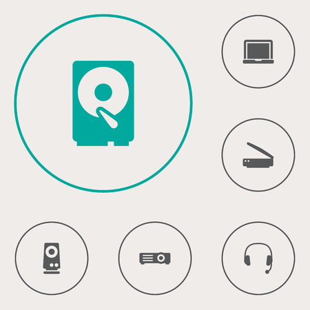 typesetter: Set Of 6 Laptop Icons Set.Collection Of Show, Hard Disk, Headset And Other Elements.