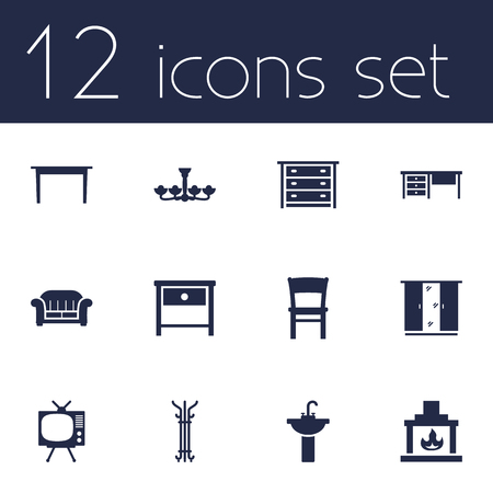 washstand: Set Of 12 Set Icons Set.Collection Of Cupboard, Bedside Table, Commode And Other Elements.