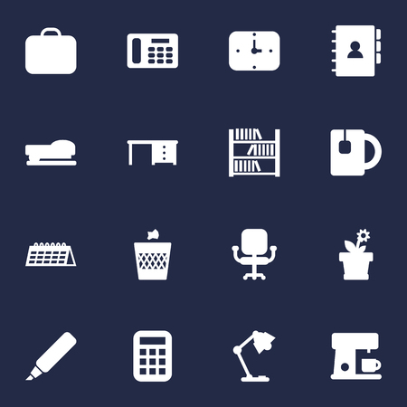 Set Of 16 Office Icons Set.Collection Of Espresso, Sew, Time And Other Elements. Illustration