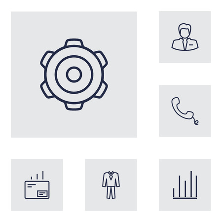 postmark: Set Of 6 Management Outline Icons Set.Collection Of Suit, Chart, Businessman And Other Elements.