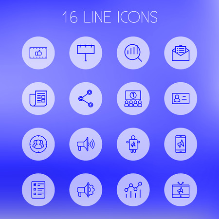 trapped: Set Of 16 Advertising Outline Icons Set