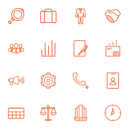trade union: Set Of 16 Management Outline Icons Set.Collection Of Magnifier, Paper, Handset Elements.