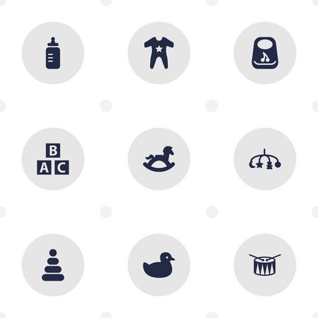 Set Of 9 Baby Icons Set.Collection Of Barrel, Smock, Toy And Other Elements. Ilustração