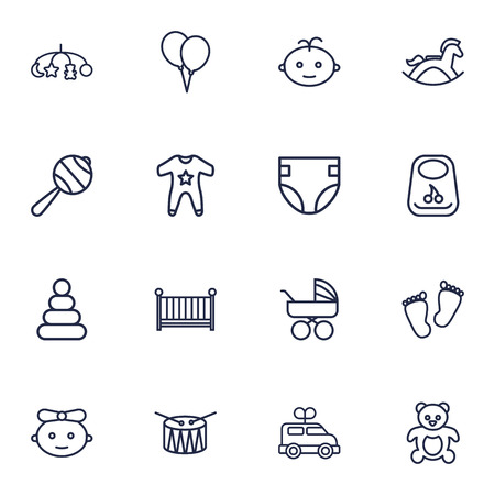huggable: Set Of 16 Child Outline Icons Set.Collection Of Crib, Baby, Footprints And Other Elements.