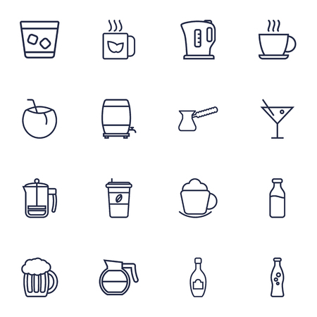 Set Of 16 Drinks Outline Icons Set.Collection Of Coconut, Coffeepot, Kettle And Other Elements.