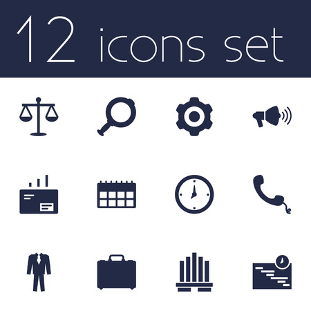 todo: Set Of 12 Management Icons Set.Collection Of Loupe, Time, Clothes And Other Elements.
