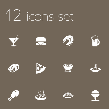 Set Of 12 Eat Icons Set.Collection Of Sorbet, Fried Poultry, Ale And Other Elements.