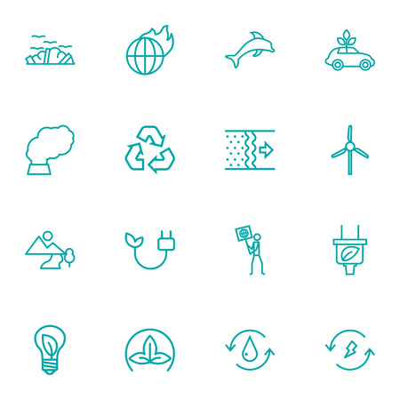 contamination: Set Of 16 Bio Outline Icons Set.Collection Of Pollution, Wind Turbine, Air And Other Elements.