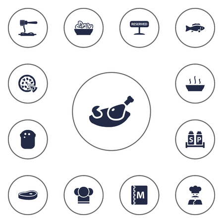 broth: Set Of 13 Bar Icons Set.Collection Of Chef, Broth, Cook And Other Elements. Illustration