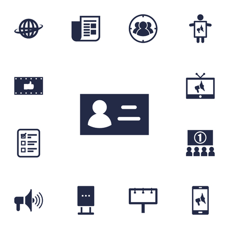 Set Of 13 Commercial Icons Set.Collection Of Like, Auditorium, Placard And Other Elements.