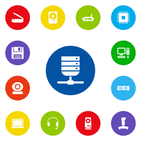 amplification: Set Of 13 Notebook Icons Set.Collection Of Datacenter, Show, Amplifier And Other Elements. Illustration