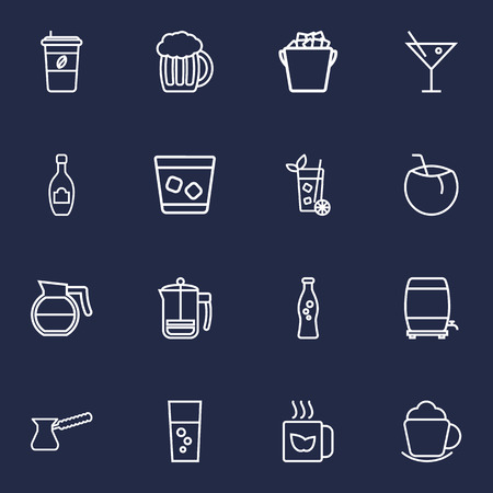 Set Of 16 Drinks Outline Icons Set.Collection Of Cappuccino, Cocktail, Mojito And Other Elements.