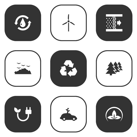 Set Of 9 Bio Icons Set.Collection Of Energy, Cleaning, Purification And Other Elements. Иллюстрация
