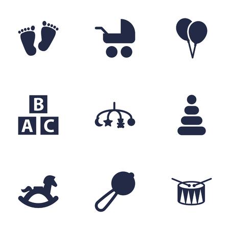 Set Of 9 Child Icons Set.Collection Of Barrel, Abc Block, Decoration And Other Elements. Ilustração