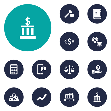 Set Of 12 Finance Icons Set.Collection Of Ingot, Balance, Save Money And Other Elements. Иллюстрация
