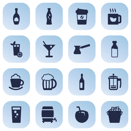 nonfat: Set Of 16 Drinks Icons Set.Collection Of Cocktail, Wine, Mug And Other Elements.