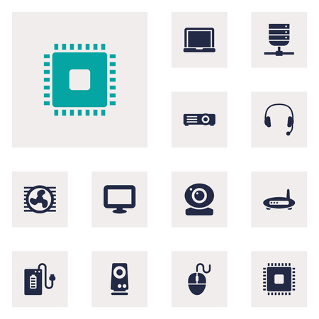 Set Of 12 Computer Icons Set.Collection Of Amplifier, Show, Router And Other Elements.