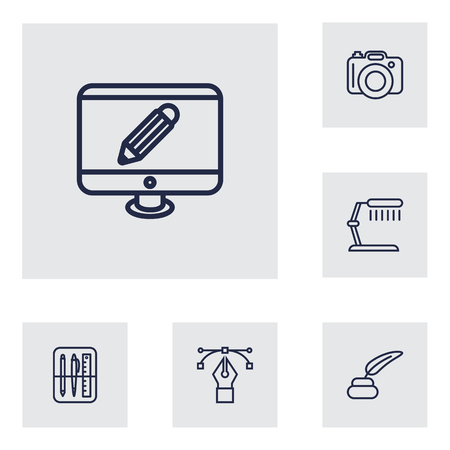 pc case: Set Of 6 Creative Outline Icons Set.Collection Of Dslr Camera, Monitor, Table Lamp And Other Elements.
