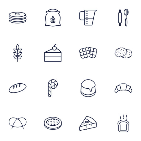 Set Of 16 Pastry Outline Icons Set.Collection Of Wheat, Measuring Cup, Pudding And Other Elements. Ilustração