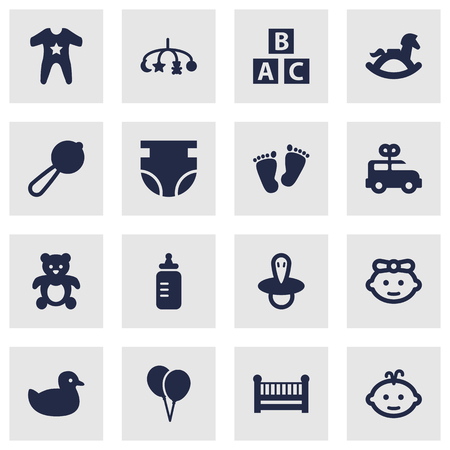 Set Of 16 Baby Icons Set.Collection Of Maraca, Milk, Bus And Other Elements.