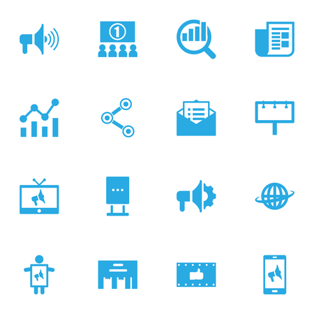 thump: Set Of 16 Commercial Icons Set.Collection Of Auditorium, Journal, Market And Other Elements.