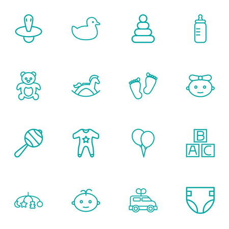 Set Of 16 Child Outline Icons Set.Collection Of Teddy, Balloon, Rattles And Other Elements.