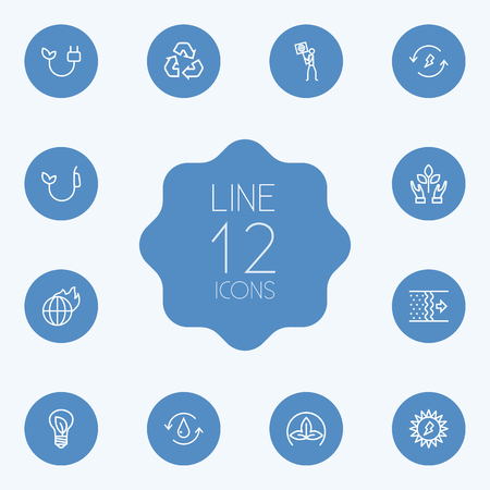 refinement: Set Of 12 Bio Outline Icons Set.Collection Of Eco, Recycling, Charge And Other Elements.
