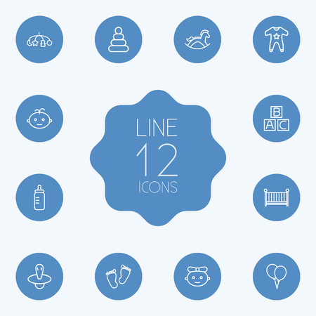 Set Of 12 Baby Outline Icons Set.Collection Of Nipple, Footprints, Smock And Other Elements. Ilustração