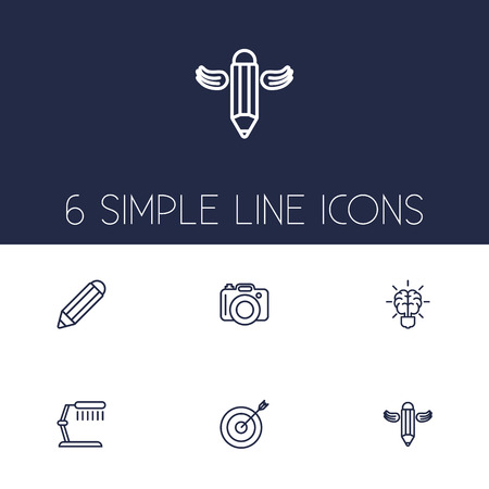Set Of 6 Constructive Outline Icons Set.Collection Of Brain, Table Lamp, Pencil And Other Elements. Çizim