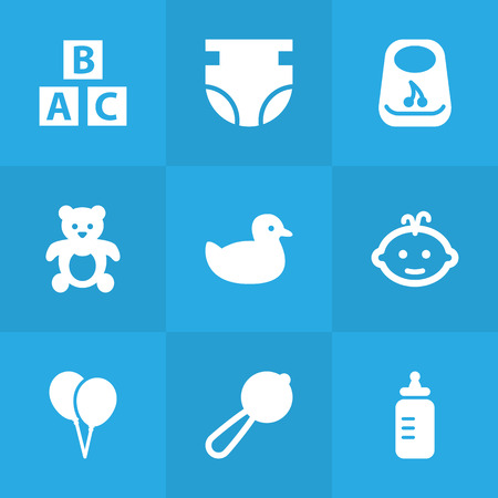 Set Of 9 Kid Icons Set.Collection Of Nappy, Breastplate, Decoration And Other Elements.
