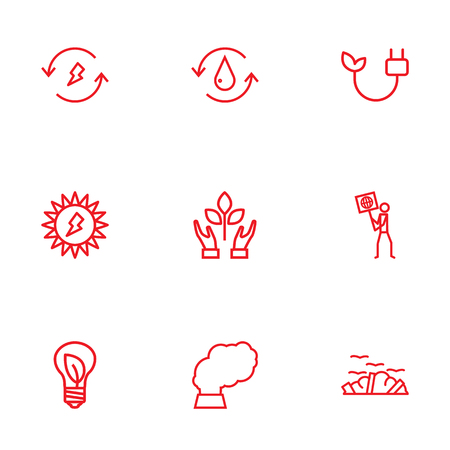 ecologist: Set Of 9 Bio Outline Icons Set: Collection Of Charge, Water, Ecologist And Other Elements.