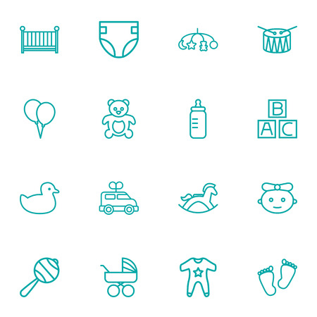 huggable: Set Of 16 Baby Outline Icons Set.Collection Of Teddy, Diaper, Bottle And Other Elements.