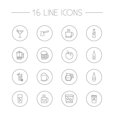 Set Of 16 Beverages Outline Icons Set.Collection Of Cocktail, French Press, Hot Drink And Other Elements.