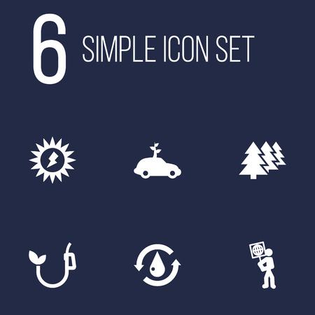 Set Of 6 Bio Icons Set.Collection Of Eco, Reforestation, Energy And Other Elements. Illusztráció