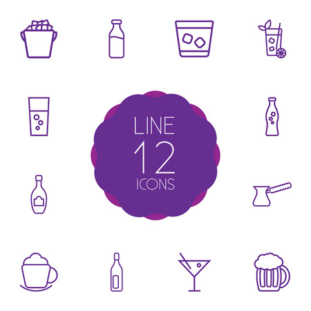 nonfat: Set Of 12 Drinks Outline Icons Set.Collection Of Ice Bucket, Beer, Soda And Other Elements.