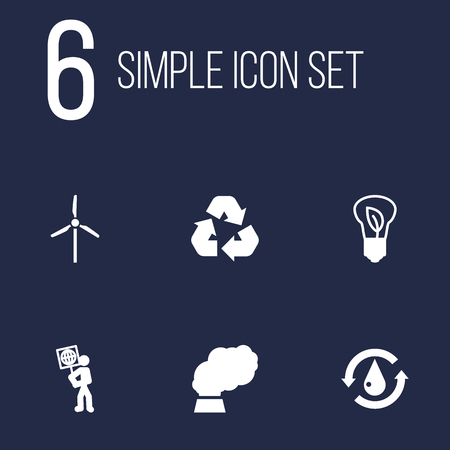 light emission: Set Of 6 Bio Icons Set.Collection Of Treatment, Cleaning, Volunteer And Other Elements. Illustration