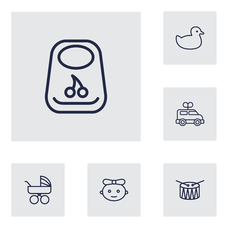 Set Of 6 Kid Outline Icons Set.Collection Of Bib, Rubber, Baby And Other Elements.