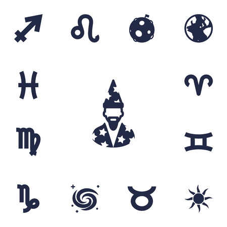 Set Of 13 Horoscope Icons Set.Collection Of Lion, Solar, Ram And Other Elements.